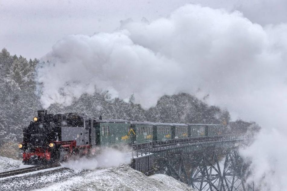 Die Fichtelbergbahn dampft durch das weiße Winterwunderland rund um den Fichtelberg.