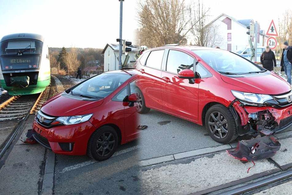 Honda kollidiert bei Bautzen mit Regionalexpress
