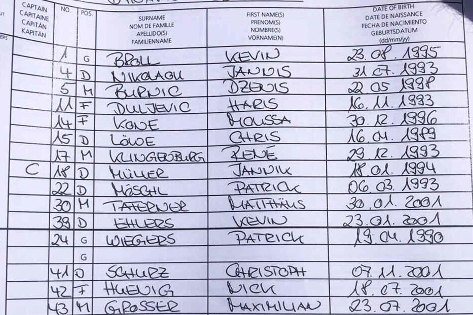 Die Mannschaftsaufstellung von Dynamo Dresden für das Testspiel gegen Unterhaching.