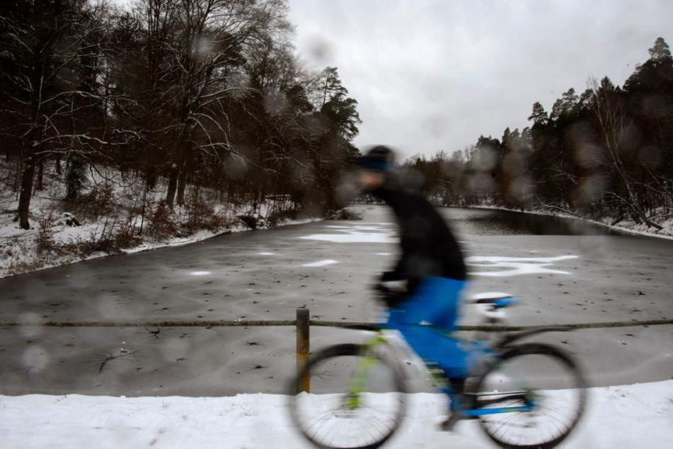 Ein Radfahrer fährt am 10.12.2017 durch die verschneite Landschaft in Stuttgart.