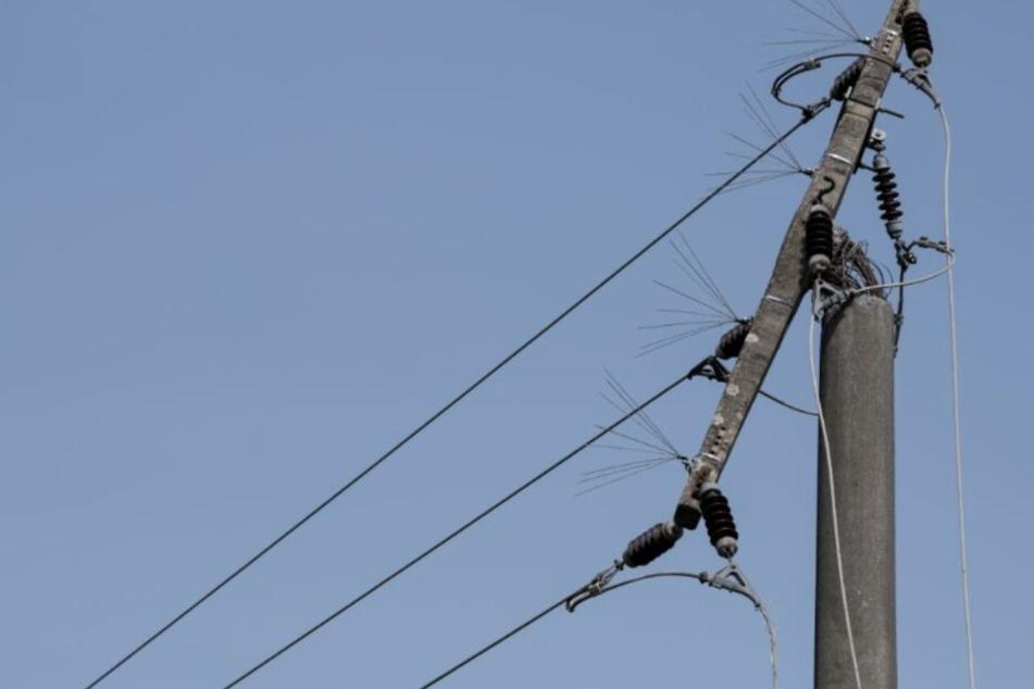 Der Kleintransporter kollidierte mit einem Strommast.