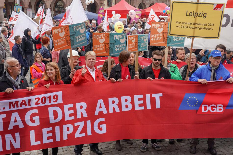 Gewerkschafts-Kundgebungen, wie hier der große DGB-Aufzug am 1. Mai 2019 in Leipzig, wird es am Freitag in Sachsen nicht geben.