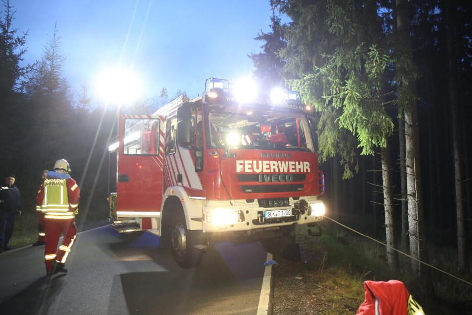 Die Feuerwehr zieht das Wrack aus dem Wald.