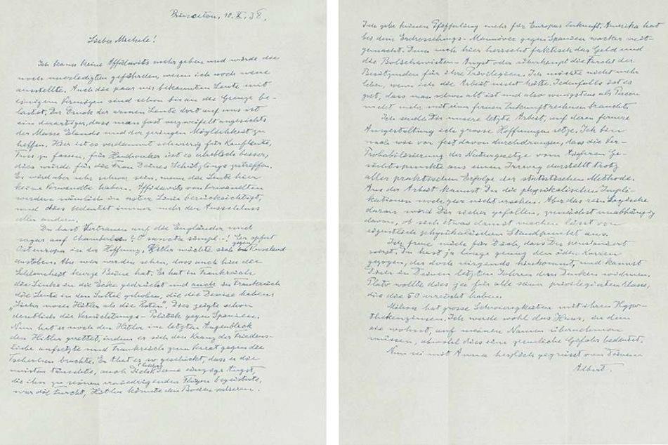 In dem Brief lässt Albert Einstein (1879-1955) kein gutes Haar an Europa.