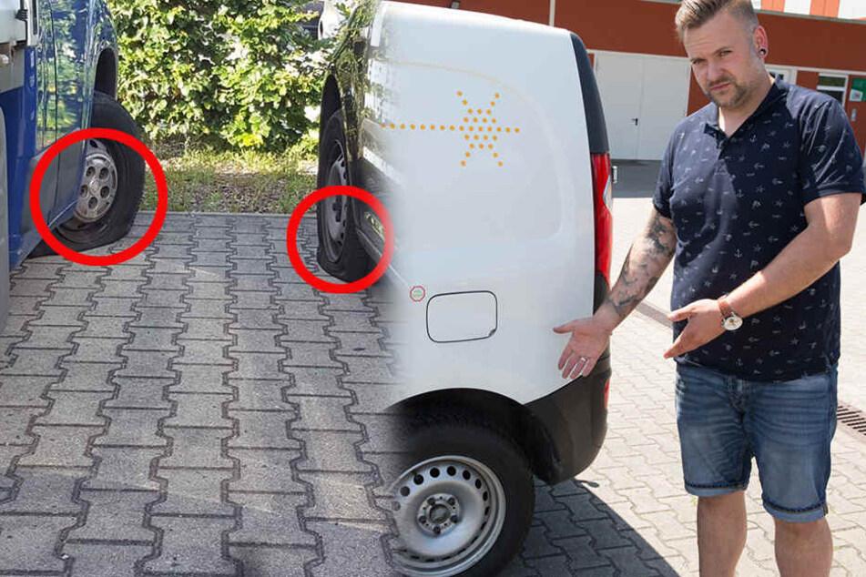 Stefan Vetter (36) musste bei allen Wagen neue Reifen aufziehen.