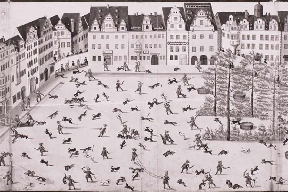 Fürstliche Tierhatz mitten in der City: Der Altmarkt im Jahr 1609 zur Fastnacht beim  sogenannten Fuchsprellen. Damals stand das Rathaus (Gebäude am rechten Rand)  noch.