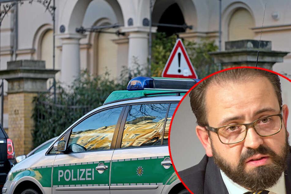 Ein Polizeiauto steht vor dem Wohnhaus von Sachsens Justizminister Sebastian Gemkow (39, CDU) in Leipzig.