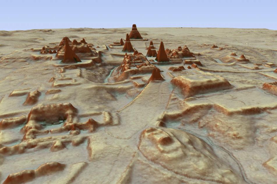 Dieses vom PACUNAM zur Verfügung gestellte, durch LiDAR Luftbildvermessung hergestellte 3D-Bild zeigt eine Darstellung der Ausgrabungsstätte einer Maya-Stadt.