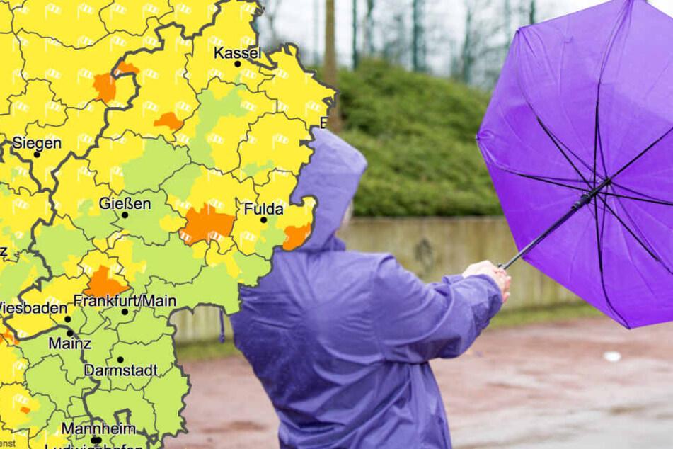Für Teile von Hessen gelten am Dienstag Unwetterwarnungen der Stufen 1 und 2 des Wetterdienstes (Grafik).