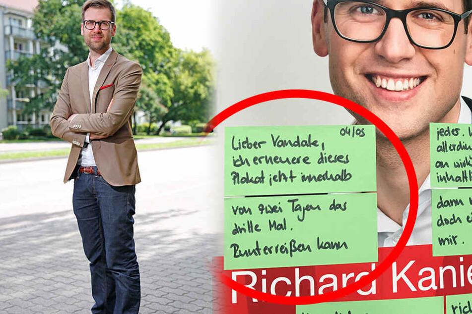 """Versuch der Kontaktaufnahme: SPD-Kandidat Richard Kaniewski (32) hat vor Ort an den """"lieben Vandalen"""" geschrieben."""