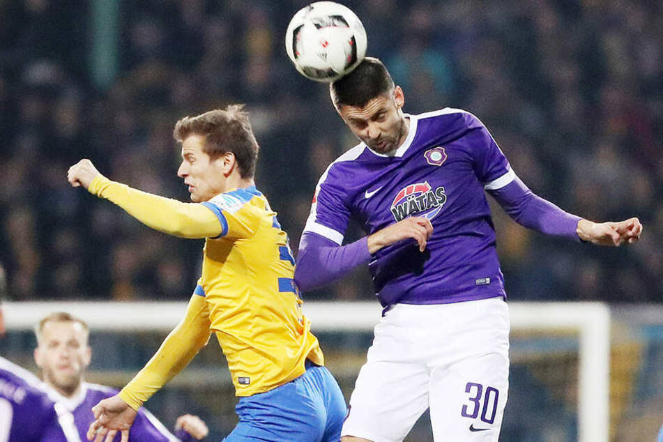 Im Spiel gegen Braunschweig zeigte Dimitrij Nazarov vollen Einsatz.