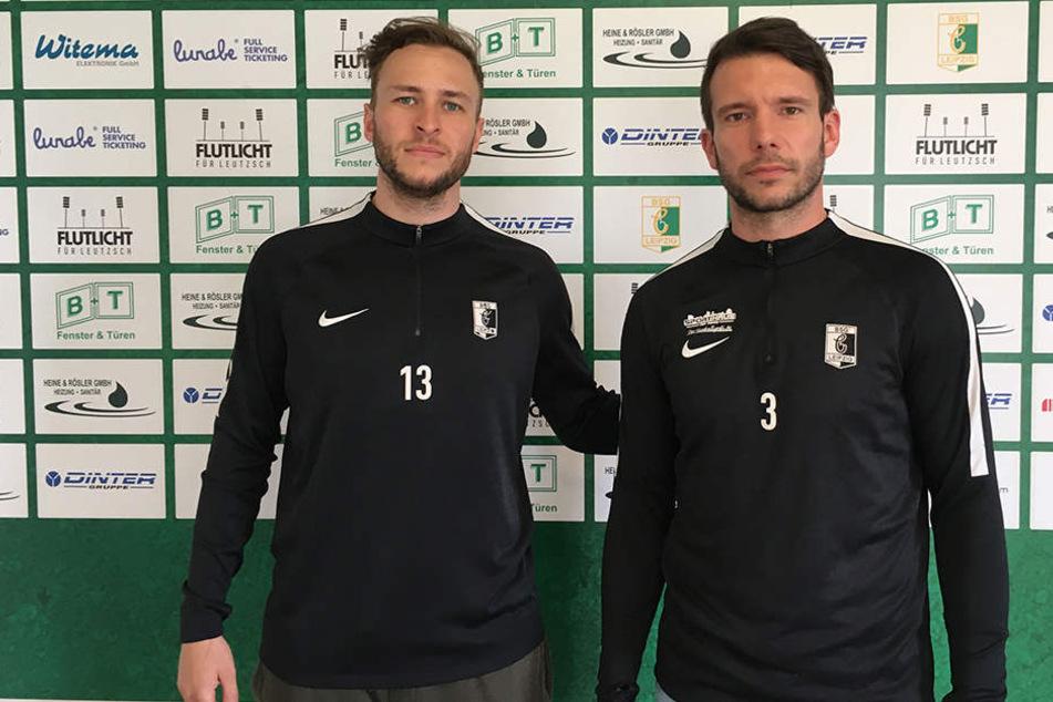 Beide kicken auch in der kommenden Saison für Chemie Leipzig: Benjamin Schmidt (l.) und Stefan Karau (r.).