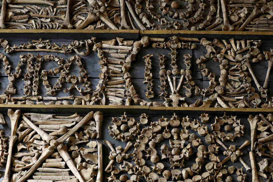 Die Knochen sind zu Mustern gestapelt und meterhoch an den Wänden befestigt.