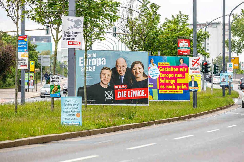 Endspurt zum Super-Wahlsonntag: An Dresdens Straßen werben die Parteien mit Hunderten Plakaten um die Wählergunst.