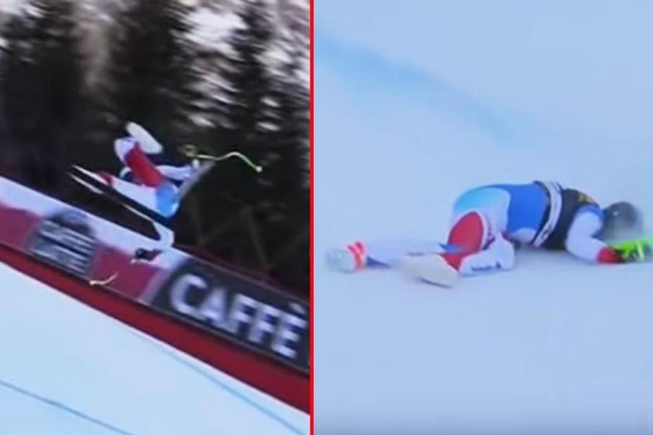 Marc Gisin (30) schlug mit dem Kopf auf und blieb bewusstlos liegen.