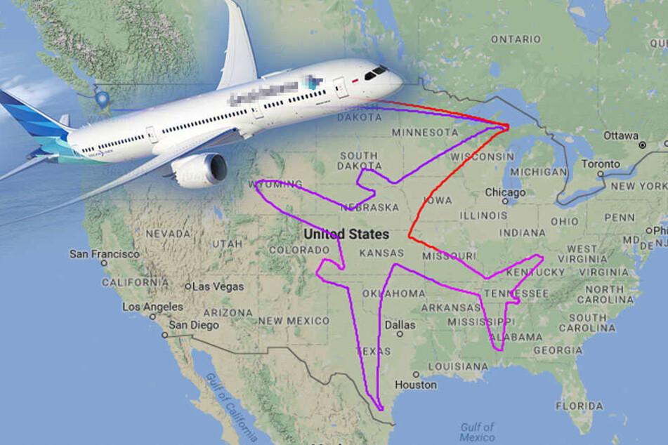 """In 18 Stunden! Hier """"zeichnen"""" Piloten ein Flugzeug"""