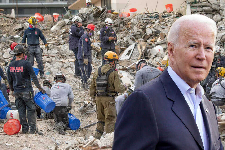 Biden visits Surfside condo collapse site as rescue work is halted