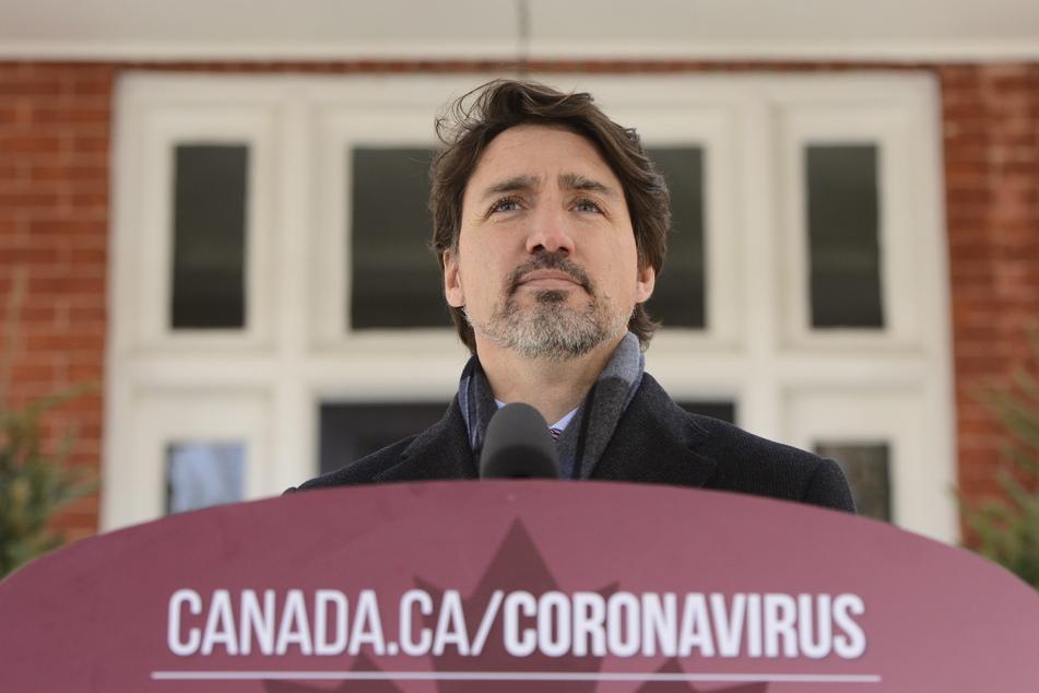 Justin Trudeau (48), Premierminister von Kanada, spricht während seiner täglichen Pressekonferenz über die Coronavirus-Pandemie vor seinem Wohnhaus im Rideau Cottage.