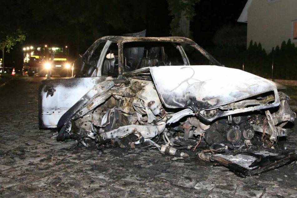 Der Wagen fing nach dem Unfall Feuer.