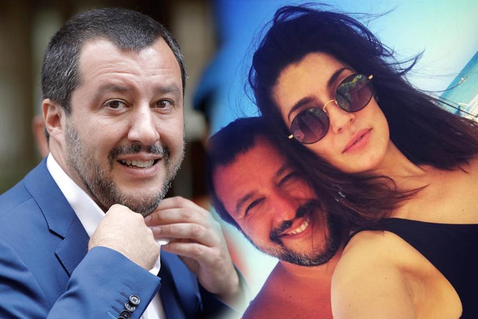 Matteo Salvini, Chef der rechtspopulistischen Partei Lega, erholt sich mit dem Model Elisa Isoardi.