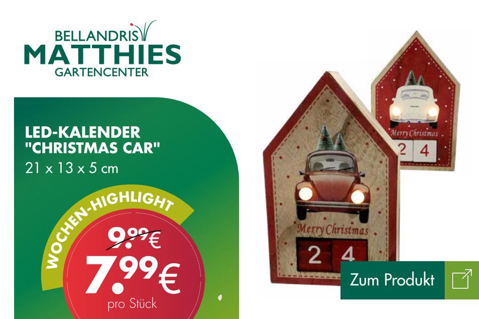 "LED-Kalender ""Christmas Car"" für 7,99 Euro."