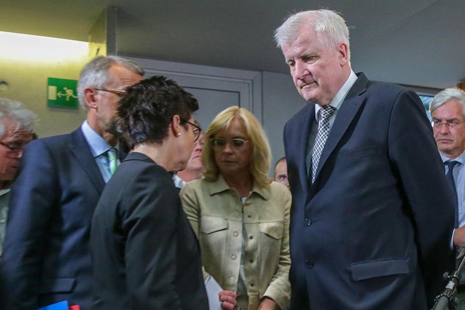 Horst Seehofer (CSU, rechts), Bamf-Chefin Jutta Cordt (2.v.li.) und Andrea Lindholz (CSU, 2.v.re.) Vorsitzende des Bundestags-Innenausschusses, nach einer Sondersitzung zur Bamf-Affäre.