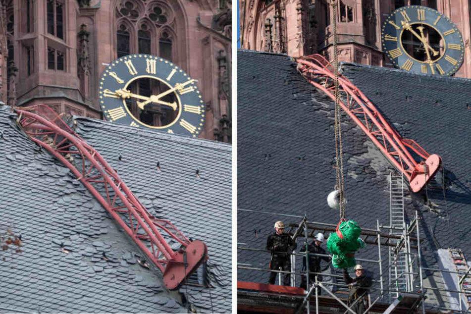 Vorbereitung zur Bergung des havarierten Krans am Frankfurter Dom läuft