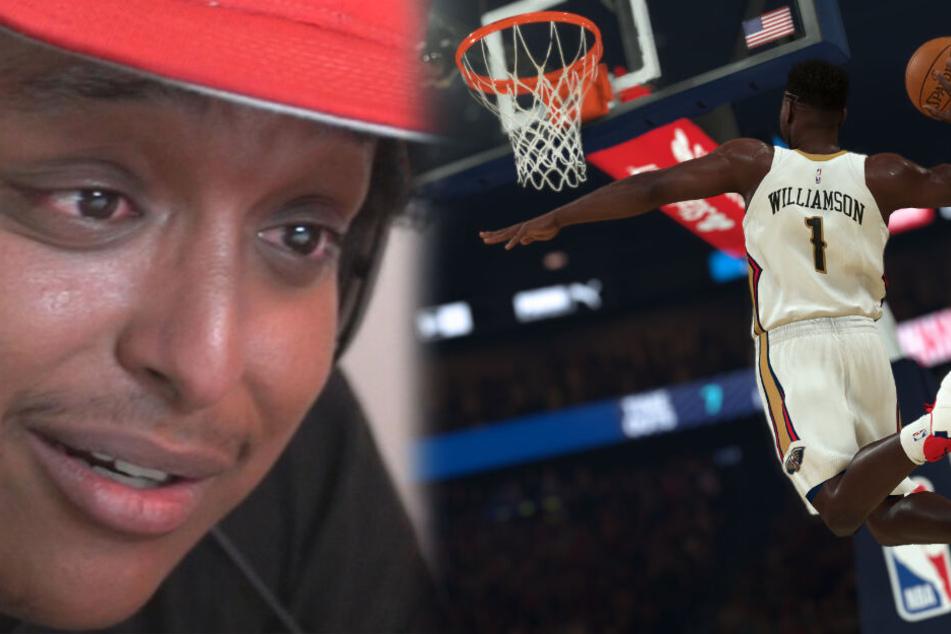 """Der bekannte NBA 2K-YouTuber """"Agent"""" (links im Bild) ist fassungslos, wie viele Fehler in NBA 2K20 existieren. (Fotomontage)"""