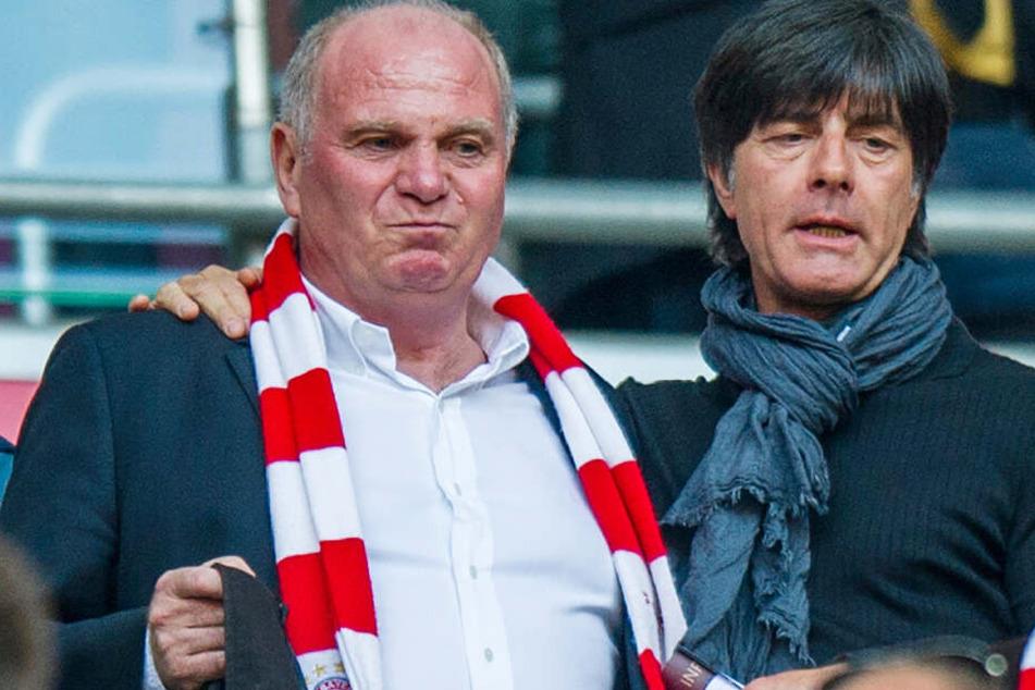 Uli Hoeneß (l.) und Bundestrainer Joachim Löw stehen auf der Tribüne. (Archivbild)