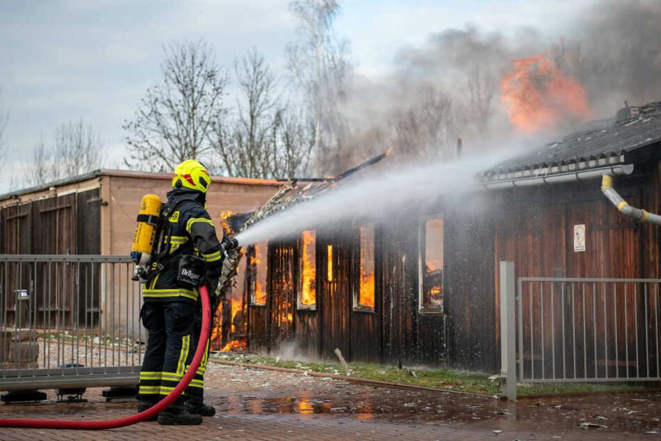 Chemnitz: Rochlitz: Lagerschuppen brennt lichterloh
