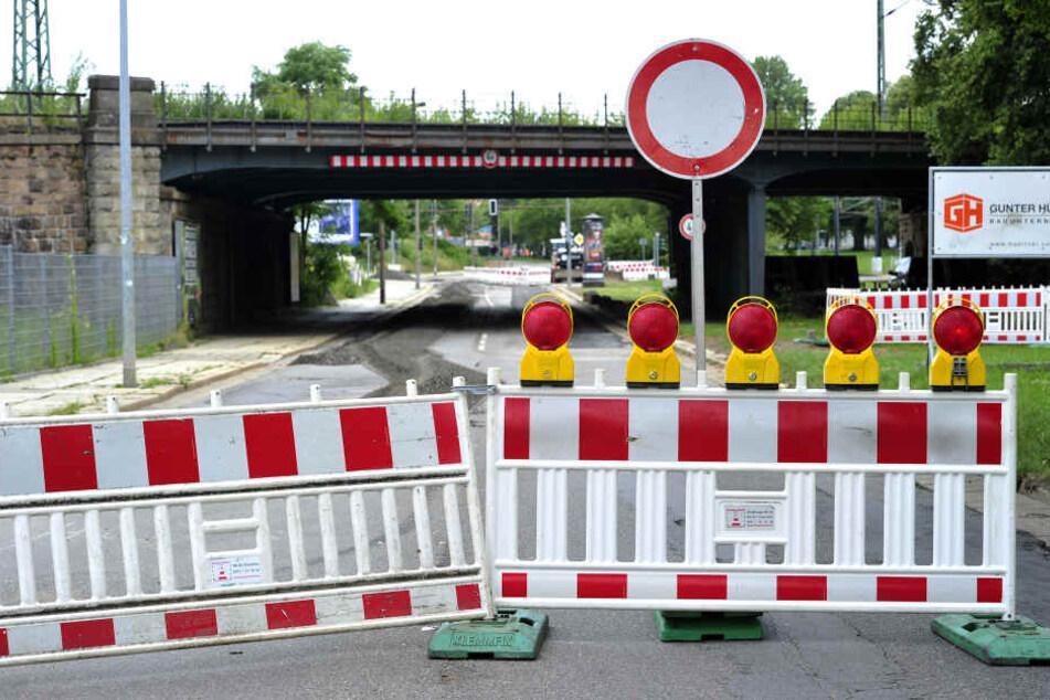Die Augustusburger Straße ist noch bis mindestens 6. Juli 2018 stadtauswärts eine Einbahnstraße.