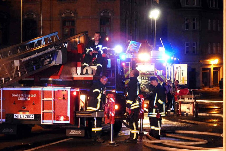 Die Feuerwehr Grimma war mit einem Großaufgebot an Löschtechnik und 45 Kameraden im Einsatz.