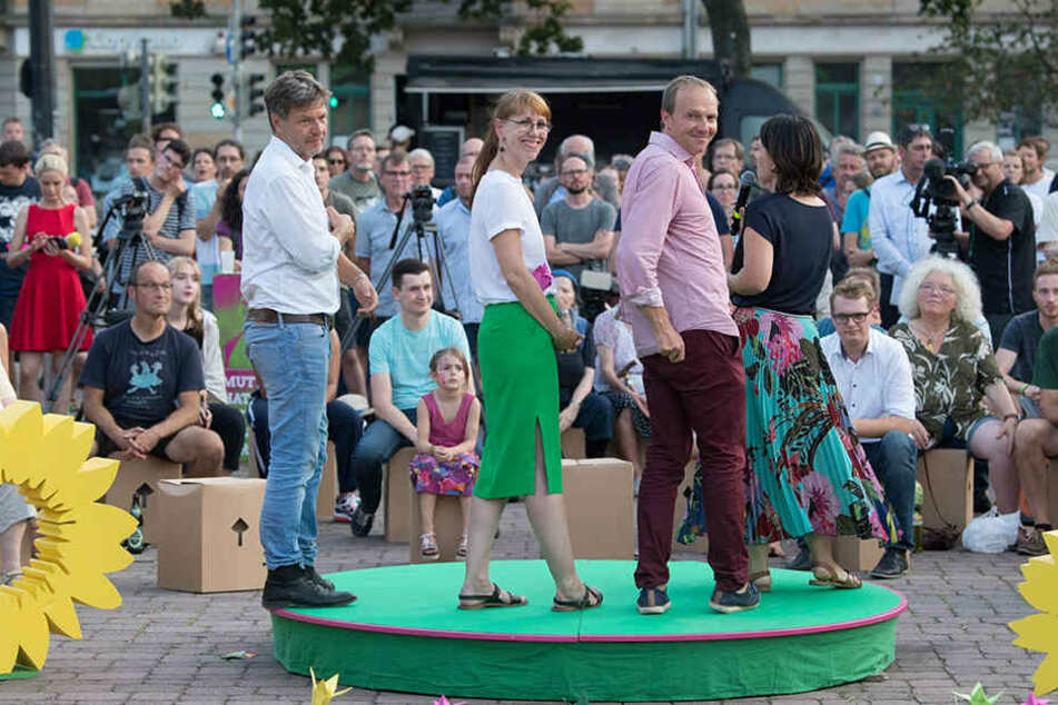 Wahlkampf-Veranstaltung mit den Grünen-Parteichefs in ihrer Hochburg Dresden-Neustadt: Die Öko-Partei hofft auf ein Rekordergebnis.