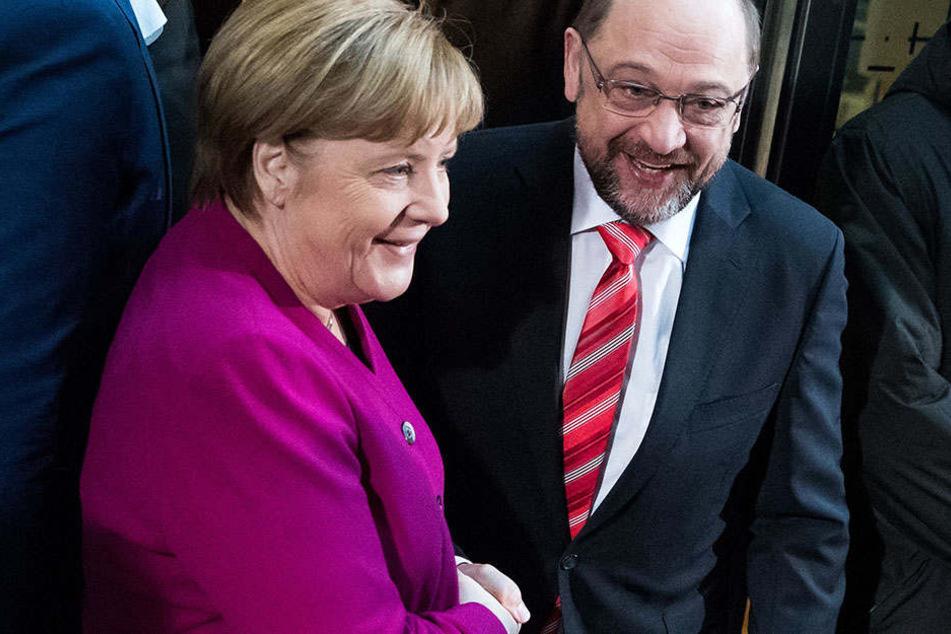 Zuversicht bei Angela Merkel und Martin Schulz.