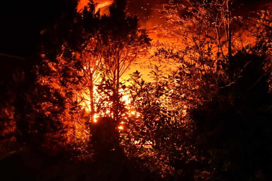 Auf der Terrasse loderte am Montagabend ein Feuer.