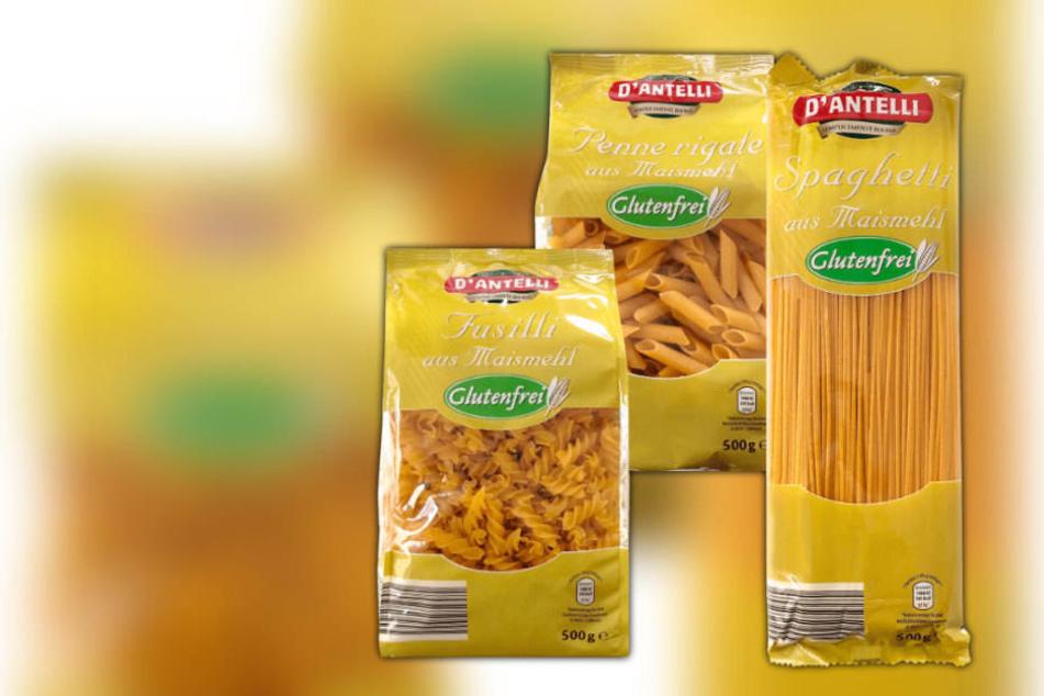 """Betroffen sind die 500 Gramm-Packungen der Sorten Fusilli, Penne und Pasta von """"D'ANTELLI Maispasta""""."""
