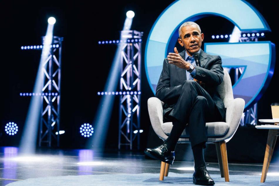 Der ehemalige US-Präsident Barack Obama am Donnerstagabend in der Kölner Lanxess-Arena.