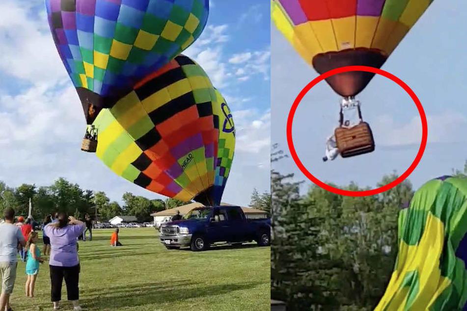 Heißluftballons krachen ineinander! Pilot fliegt aus Korb
