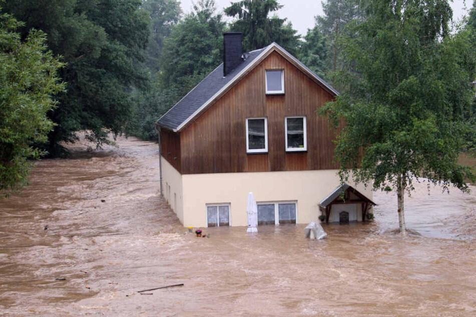 Bei drei Jahrhundert-Hochwassern in elf Jahren umschlossen Fluten der Würschnitz Harthauer Häuser.