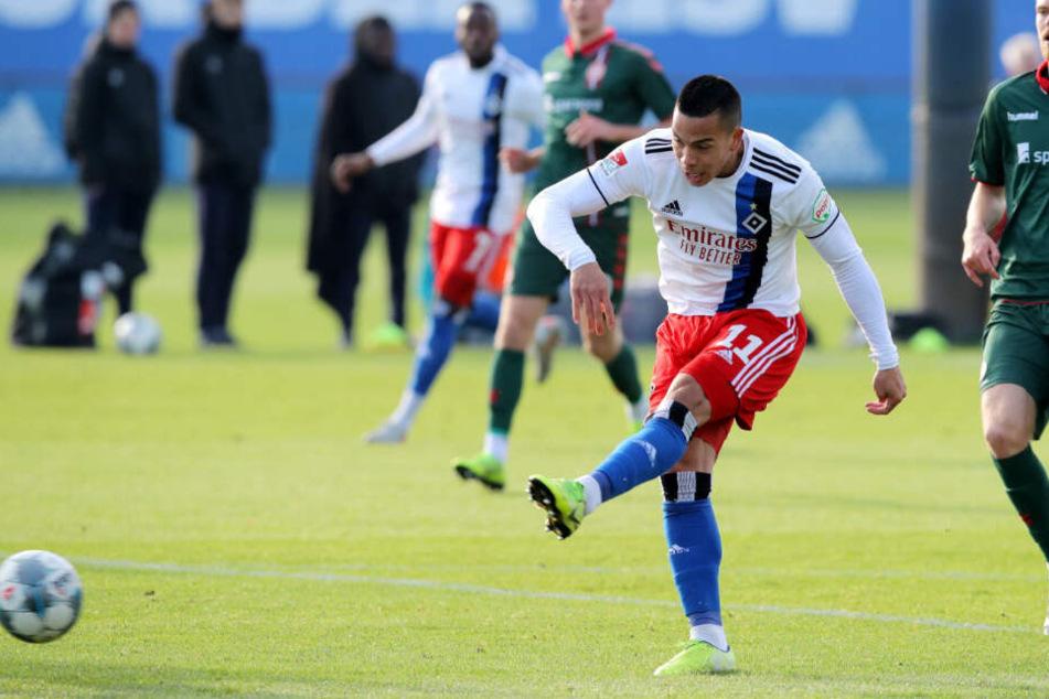 Stürmer Bobby Wood erzielte den einzigen Treffer im Testspiel zwischen dem Hamburger SV und Aalborg BK.