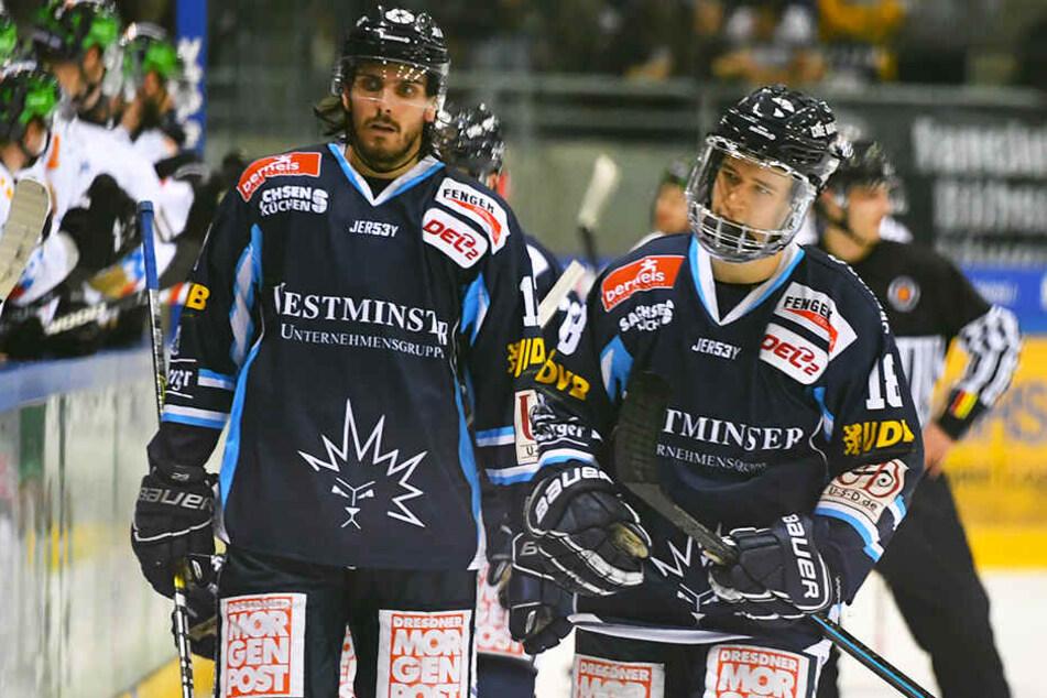Betretene Gesichter bei den Eislöwen Toni Ritter und Timo Walther.