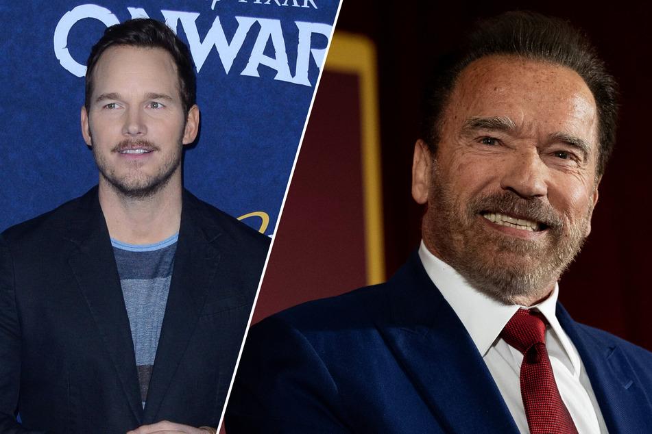 Arnold Schwarzenegger (73, r.) thinks highly of his son-in-law Chris Pratt (41).