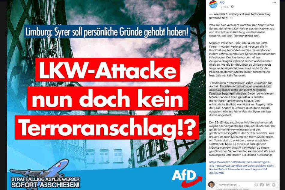 """Der Screenshot zeigt den Facebook-Post der """"Alternative für Deutschland""""."""