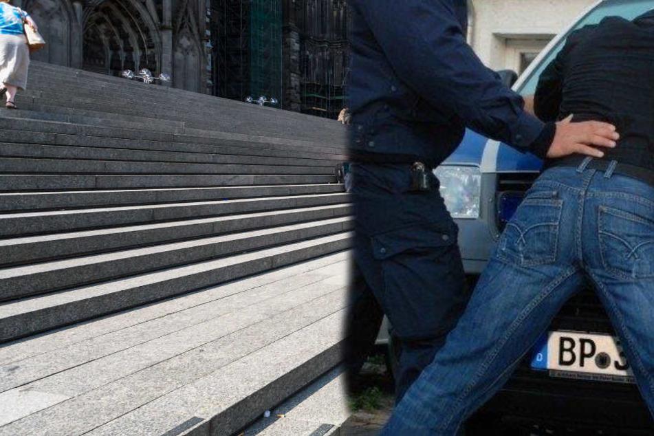 Die Bundespolizei konnten den Täter an der Domtreppe festnehmen. (Symbolbild)