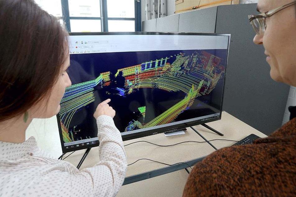 Birgit Pohle und Ellen Forke begutachten die Fahrzeugumfelderkennung mittels  des 3D-Laserscanners.