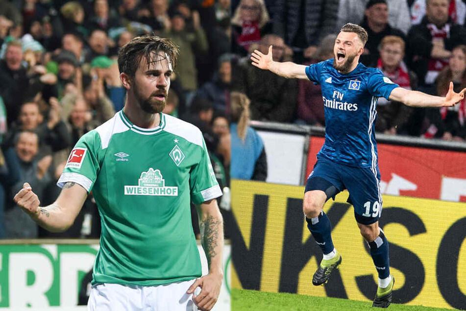 Martin Harnik (links) jubelt künftig für den HSV, Manuel Wintzheimer läuft künftig für den VfL Bochum auf.