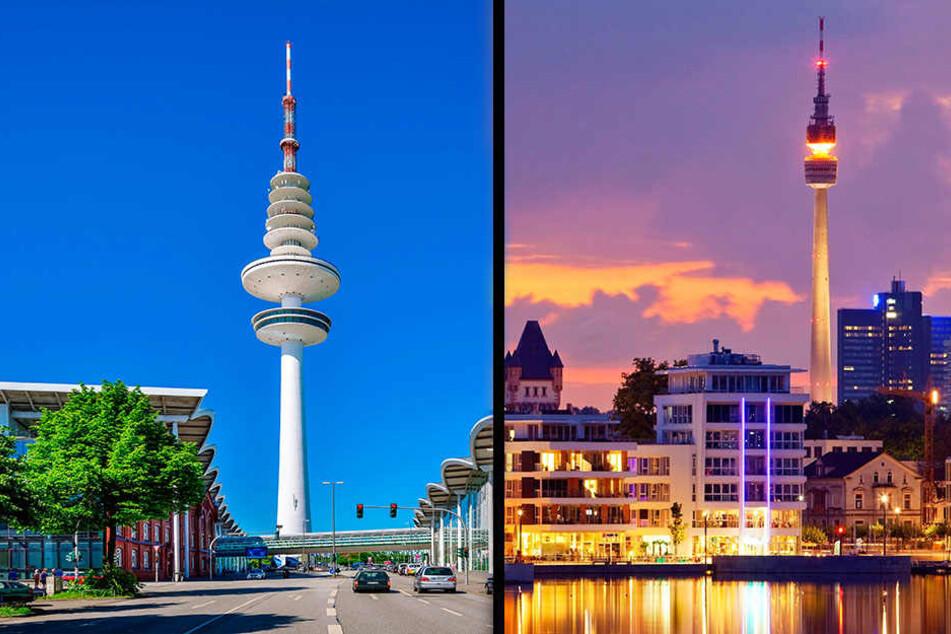 Für den Hamburger Fernsehturm (l.) gibt's Hoffnung auf eine Sanierung. Der Florianturm in Dortmund hatte ein Café, aber der Betreiber ging Pleite.
