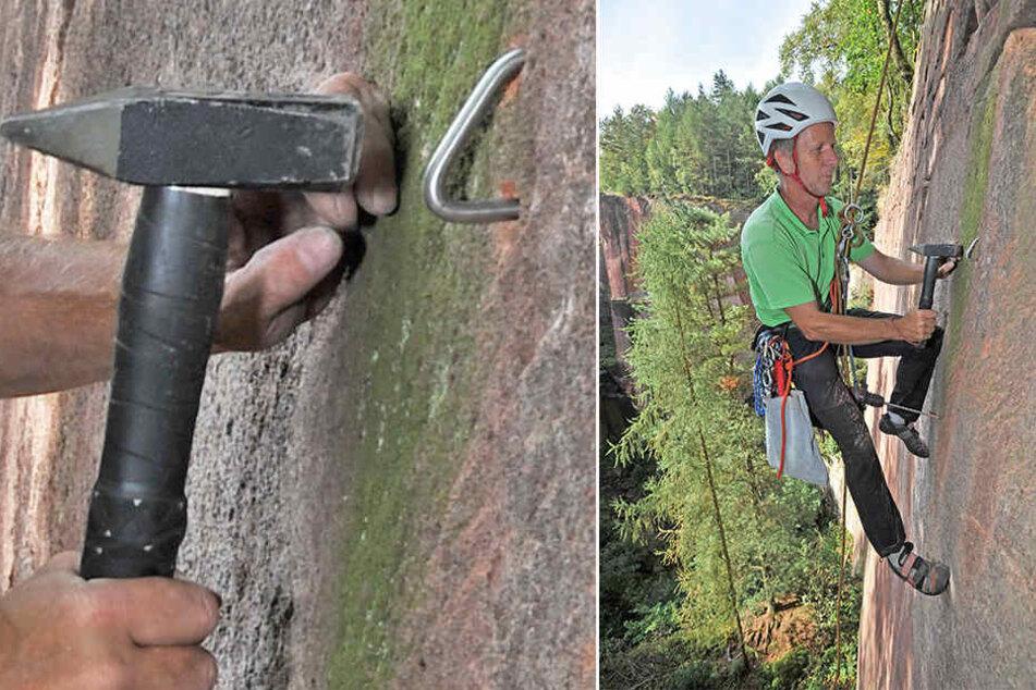 Kletterer und Sicherheitsexperte Wido Woicik (54) installiert für den Sächsischen Bergsteigerbund Sicherungsringe.