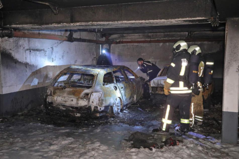 Der Brand des Fluchtswagens in der Tiefgarage verursachte einen Schaden im sechsstelligen Bereich.