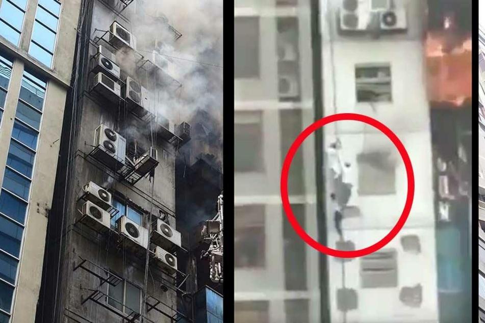 Menschen klettern Fassade runter, um sich aus Hochhaus-Inferno zu retten